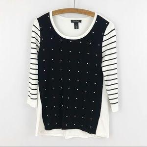 White House Black Market WHBM Pearl Beaded Sweater